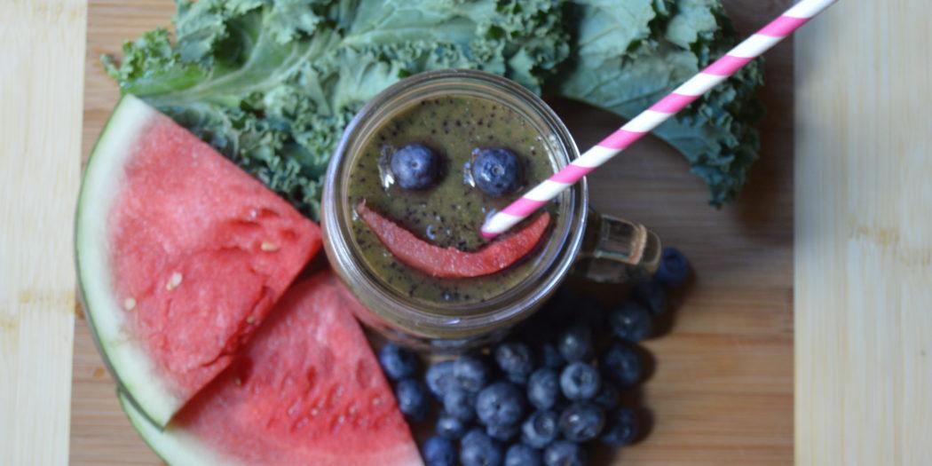 Watermelon Blueberries Kale Smoothie